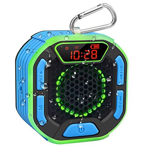 BassPal Tragbarer Bluetooth Dusche Lautsprecher, IPX7 Wasserdichter Lautsprecher mit Lautem Sound, LED Anzeige, Karabinerhaken, Lichtshow, TWS, Kabelloser Lautsprecher für Strand, Pool, Zuhause, Party