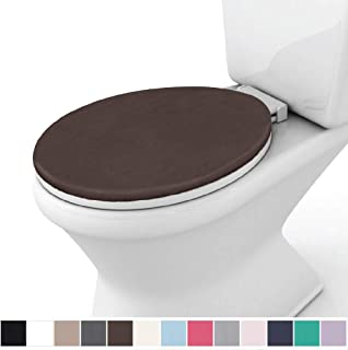 Gorilla Grip Original Thick Memory Foam Bath Rug Toilet Lid Seat Cover, 19.5 Inch x 18.5 Inch Size, Machine Washable, Plush Fabric Covers, Fits Most Size Toilet Lids for Children's Bathroom, Brown