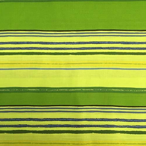 Kt KILOtela Tela por Metros de sábana Estampada - Algodón y poliéster - Retal de 300 cm Largo x 270 cm Ancho | Rayas horizontales, Verde - 3 Metros