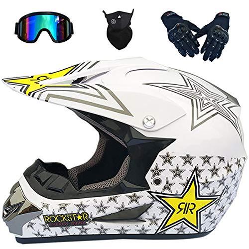 Casco de Moto, Casco de Motocross para Niños, Blanco/Rockstar, Casco Protección para...
