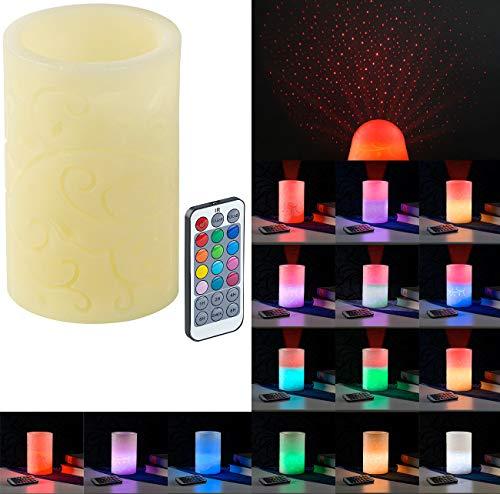 Lunartec LED Projektor Kerze: Echtwachskerze mit Farbwechsel-LED und Laser-Projektor, Fernbedienung (Projektorkerze)
