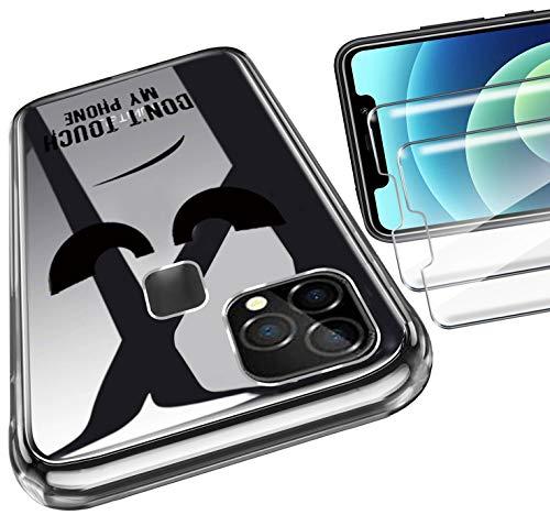 HYMY Tasche für OUKITEL C22 Hülle (5.9 Zoll) + 2Pcs Panzerglas für OUKITEL C22 Schutzfolie - Transparent Schutzhülle TPU Handytasche Bildschirmschutzfolie Glas-DUO5