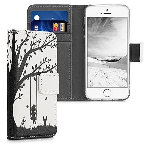 kwmobile Custodia Compatibile con Apple iPhone SE (1.Gen 2016) / 5 / 5S - Cover Portafoglio Pelle Sintetica con Chiusura Magnetica - Porta Carte Altalena Sull'Albero