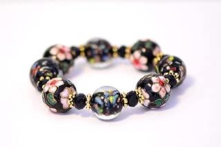 Venetian Glass Bead and Cloisonne Stretch Bracelet Bangle