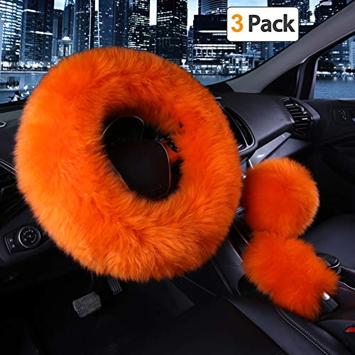 Younglingn Car Steering Wheel Cover Gear Shift Handbrake Fuzzy Cover 1 Set 3 Pcs Multi-colored with Winter Warm Pure Wool Fashion for Girl Women Ladies Universal Fit Most Car(orange)