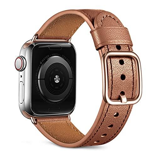 Oielai Kompatibel mit Apple Watch Armband 40mm 38mm Damen Männer, Top Grain Echte Lederarmband mit Edelstahl-Verschluss Kompatibel für Apple Watch SE Series 6 5 4 / Series 3 2 1 ,Hellbraun