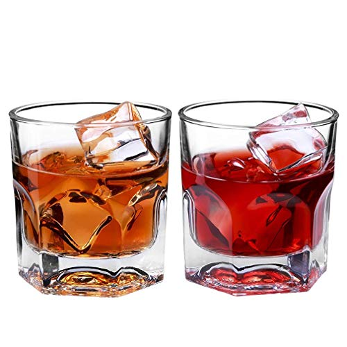 Tcbz Vasos Escoceses, Vaso de Whisky, Juego de 2 Vasos de borbón, Vasos de Bar Hechos a Mano de Vidrio único Pesado, Vasos de cóctel Hombres, Regalos, 90 ml