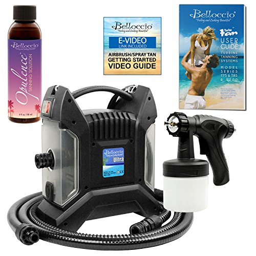 Belloccio Ultra Pro T85-QC High Performance Sunless Turbine Spray Tanning System; Free 4 oz. Opulence Tanning Solution & Free User Guide Video Link