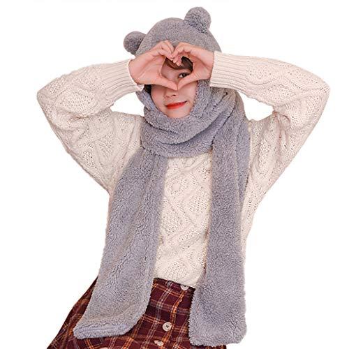 Janly Clearance Sale Conjunto de bufanda de sombrero grueso de dibujos animados para mujer, sombrero de felpa caliente, sombrero (tamaño sin gris)