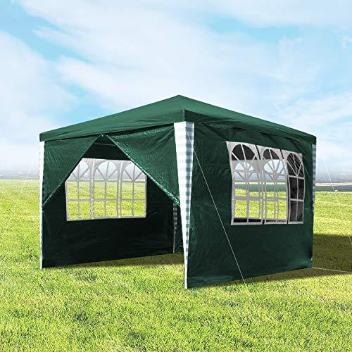 wolketon Pavillons 3x3m Wasserdicht Gartenpavillon mit 4 Seitenteile Grün Partyzelt für Camping Hochzeit und Festival