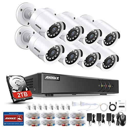 ANNKE Kit Sorveglianza 3MP DVR TVI 8 Canali 8 Bullet Camera 1080P HD TVI Telecamera di sicurezza con obiettivo da 3,6 mm, 66ft IR-Cut Chiara visione notturna, IP66 uso interno ed esterno 2TB HDD