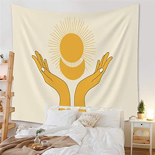 WERT Serie Amarilla Sol y Luna Planeta Tapiz Arte de los sueños Colgante de Pared Pintura de Tela Fondo Decorativo para el hogar Revestimientos de Paredes A3 150x130cm