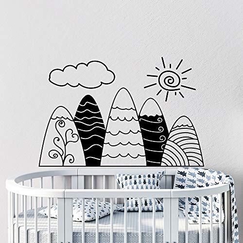 yaonuli muurstickers bergen handgeschilderd Scandinavische stijl vinyl sticker zon wolken decoratie kinderkamer