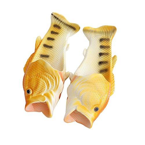QinMM Kreative Unisex Fisch Dusche Hausschuhe Lustige Strand Schuhe Sandalen (41-42, Gelb)