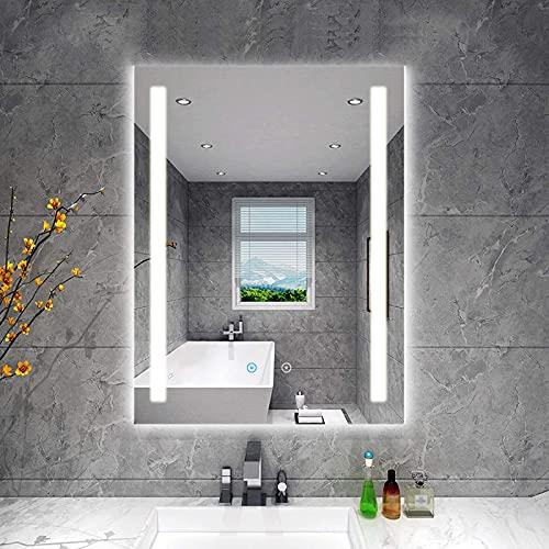 Espejo de baño LED iluminado de 600 x 800 mm, espejo montado en la pared inteligente regulable de 3 colores, Almohadilla de espejo degradado calentado, Interruptor de sensor táctil, RGB, IP44