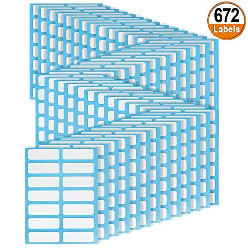 672 Pcs Etiketten Selbstklebend Dateiordner Etiketten Tafel Aufkleber für Gefrierdosen Drucker Name Adressetiketten Gefrierschrank Datum Küche 3,8 cm x 1,3 cm