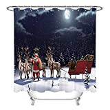 LB Weihnachten Duschvorhang, Winter Schnee Nacht Weihnachtsmann Elch Mond gemusterte Polyestergewebe Extra Lange Bad Gardinen 180x200cm wasserdicht Anti-Schimmel Bad Dekor mit Haken