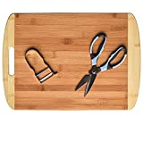 Tabla cortar de Madera de Bambu Grande (45x32cm) con Tijeras de cocina y pelador - Tabla de Madera Profesional de Bambu para cortar o utilizar como Pala de Pizza o bandeja para servir quesos