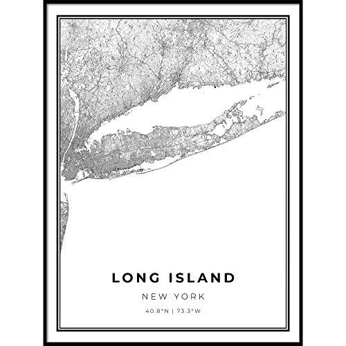 Skanndi Long Island Map Print, New York Road Map Print, Queens NY USA, Modern Wall Art, Street Map Artwork 9x11