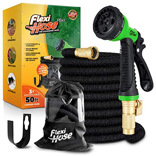 Flexi Hose Plus Lightweight Expandable Garden Hose, No-Kink Flexibility, Extra Strength with 3/4 Inch Solid Brass Fittings & Double Latex Core, Carry Case, Hook (50ft)