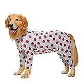 Ybyifs Ropa de algodón para Perros Grandes, Pijamas, Monos de Disfraz de Perro Mediano, Ropa para Perros, Hombres y Mujeres, Vientre Completamente Cubierto(Fresa,38 (Pecho 108 cm))