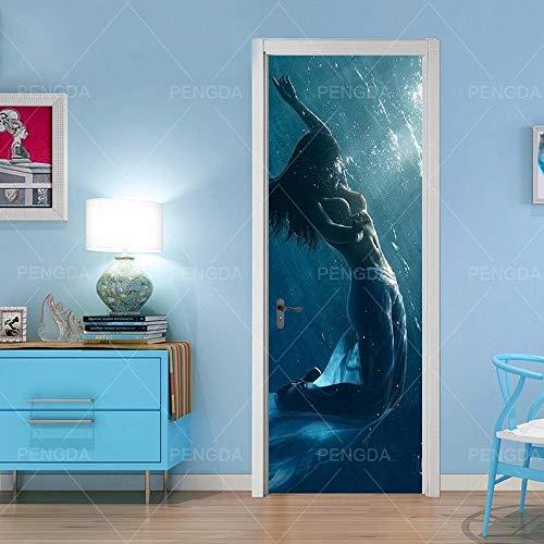 TACBZ 3D Türaufkleber Schlafzimmer Türen Renovierung 80X200Cm Schöne Sexy Meerjungfrau Im Blauen Ozean Tür Aufkleber Wohnzimmer Wandaufkleber Tapetensticker Fensterbild Wandaufkleber Hausdekoration Kl