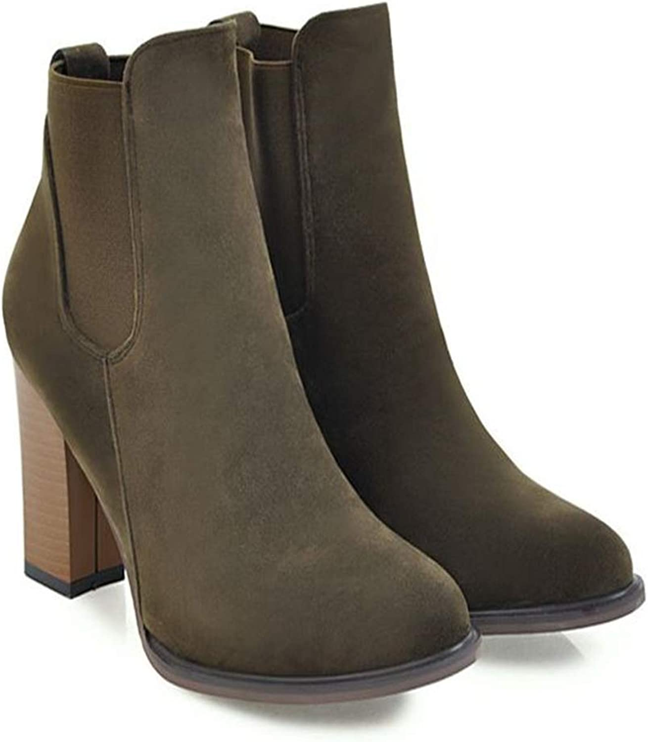 Quality.A Women's Thick Martin Boots high Heel Ankle Boots Retro Ankle Boots