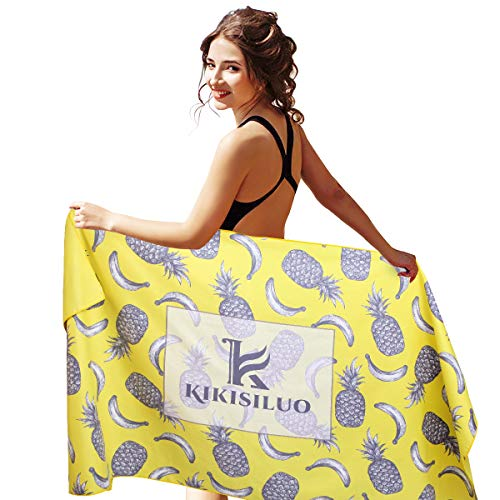 KIKISILUO Microfiber Pineapple Rectangle Beach Towel Lightweight & Quick Dry Pool Towel Large 32x63 Inches Super Absorbent Beach Towel for Pool Swimming Bath Yoga Travel (Yellow)