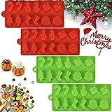 AFASOES 4 Pcs Moldes de Silicona Navideños Moldes Silicona Navidad Molde Desmontable Silicona Moldes de Silicona Horno Antiadherente con 6 formas para Bombones de Chocolate Pastas Fondant Tartas