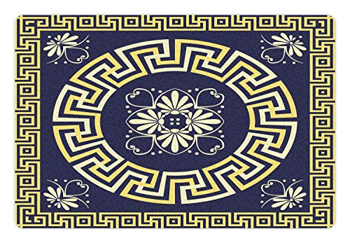 Greek Key Pet Mat For Food and Water, Meander with Spring Inspired Floral Detail Rich and Retro Entangled Maze, Non-Slip Rubber Mat For Dogs and Cats, Blue Yellow 20x32(IN)