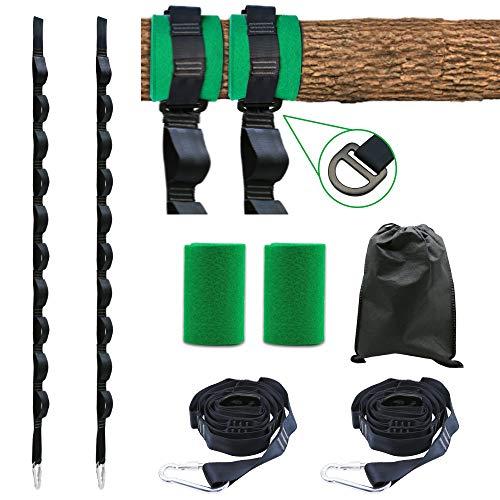 Handsonic Regulierbare Schaukel Aufhängung, 2 Hängematte Befestigung für Bäume geeignet 150cm mit 2 Karabinern und 2 Baumschutz Tuch, Aufbewahrungstasche, Hält bis zu 900 kg