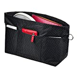 Vercord Handbag Purse Tote Pocketbook Organizer Insert Zipper Closure 11 Pockets Black Dot Medium