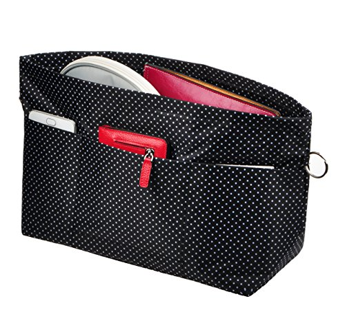 Vercord Purse Organizer Insert Bag Tote Handbags Pocketbook Inserts Organizers Zipper 11 Pockets Black Dot Medium