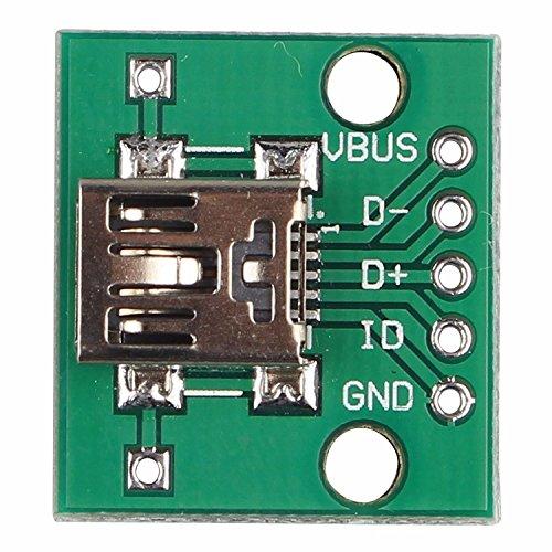 Mini USB a 2.54mm 5P y DIP DIP Micro USB de 5 pines de la placa del módulo adaptador de conector hembra