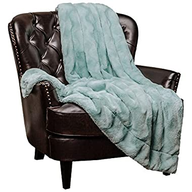 Chanasya Fur Throw Blanket for Bed Couch Chair Daybed - Soft Wave Embossed Pattern - Warm Elegant Cozy Fuzzy Fluffy Faux Fur Plush Suitable for Fall Winter Summer Spring (50  x 65 ) - Aqua Blanket