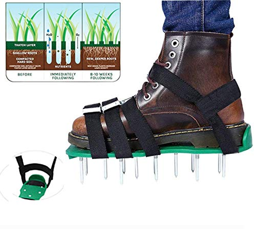 Keast Universal Size Lawn Aerator Shoes with 5 Adjustable Metal Straps,...