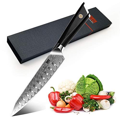 SHAN ZU Cuchillo de Cocina Damasco, Cuchillo de Chef Cuchillos de Trinchar...
