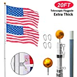 VINGLI Telescopic 20FT Upgraded Aluminum Flagpole,Outdoor Halyard Flag Pole, Durable Kit Free 27~33mph 3'x5' USA American Flag Fly 2 Flags,Perfect for Residential Garden Outdoor Canopy Patio