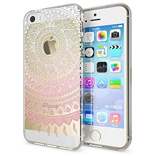 NALIA Custodia compatibile con iPhone SE 5 5S, Cover Protezione Silicone Trasparente Sottile Case, Gomma Morbido Cellulare Slim Protettiva Bumper Guscio, Motiv:Mandala Pink Rosa