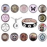 Morella Collana e bracciale da donna con ciondoli a bottone, 3 ciondoli per braccialetto, 14 ciondoli in totale