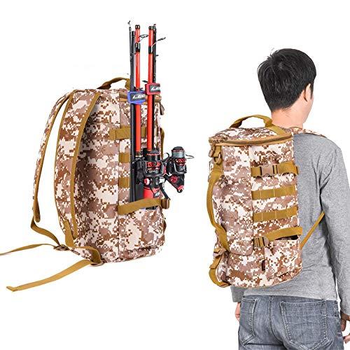 Mochila para aparejos de pesca, cilíndrica para aparejos de pesca, mochila de gran capacidad, con soporte para caña de pescar