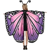 Butterfly Wings Cape for Women Butterfly Halloween Costume with Antenna Headband, Purple Butterfly Wings Costumes Shawl