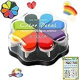 DazSpirit Almohadillas de Tinta para Niños, 8 Colores Almohadilla de Tinta para Huellas Dactilares, Almohadilla de Sello Lavable para Manualidades de Papel Tela Album de Recortes Cumpleaños de Niños