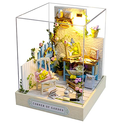 Pomrone Kit fai da te in miniatura per casa delle bambole con mobili in legno e accessori, in miniatura 3D, per sala da pranzo, studio, casa delle bambole, per adulti