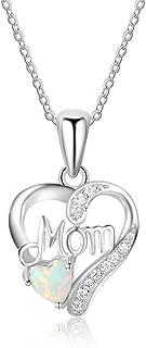 Regali di compleanno per la mamma, CNNIK Love Heart Zirconia Collana con ciondolo opale arcobaleno, Catena per gioielli co...