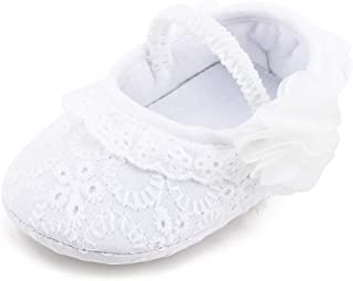 Baby White Christening Baptism Embroidered Dress Shoes for Girls Slipper