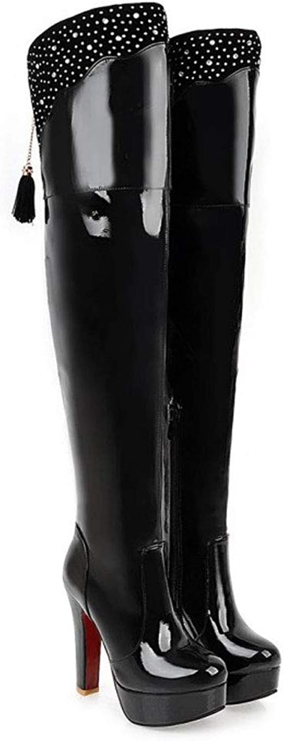 Tassel Over The Knee Boots, Thick with Waterproof Platform High Boots Side Zipper Round Head Nightclub Boots Long Tube Elastic Boots PU Ladies Rivet shoes