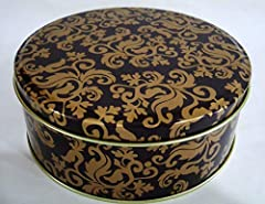 "Size: 5 1/4"" x 2"" Color: Brown w/ Gold Fleurs Reuse for your own homebaked goods, gift giving, crafts or storage for the holidays. Quantity: 1pcs"