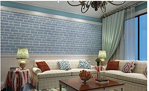 3D Papel Pintado Patrón de Ladrillo Simple Moderno No Tejido Papel Pintado Azul Para Decoración de Pared de Dormitorio Y Hogar, Papel Pintado Minimalista de Lujo 0.53Mx9.5M