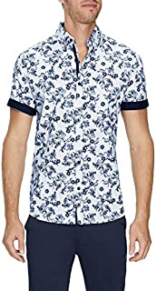 Tarocash Men's Delano Stretch Print Shirt Regular Fit Long Sleeve Sizes XS-5XL for Going Out Smart Occasionwear